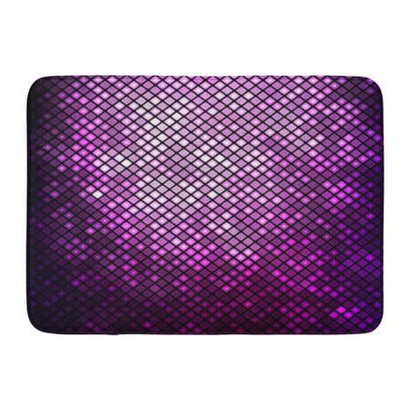 GODPOK Black Neon Purple Effect Abstract Mosaic Bright Violet Disco Pink Glow Shine Rug Doormat Bath Mat 23.6x15.7 inch - Purple Room Decor