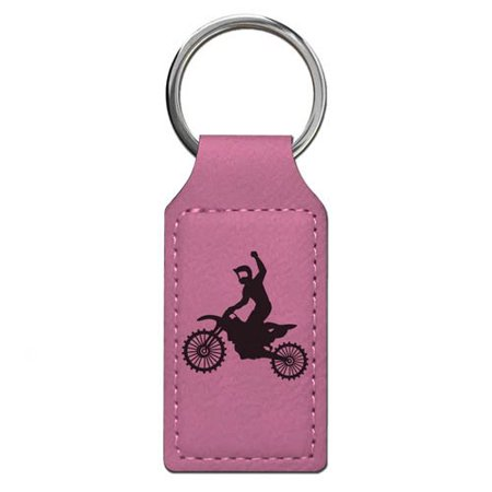 Keychain - Motocross - Personalized Engraving Included (Pink Rectangle)