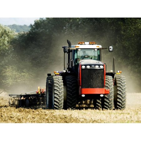 4 Wheel Drive Tractor Pulling a Disc Harrow, Cotswolds, England Print Wall Art By Martin Page (4 Wheel Drive Tractor)