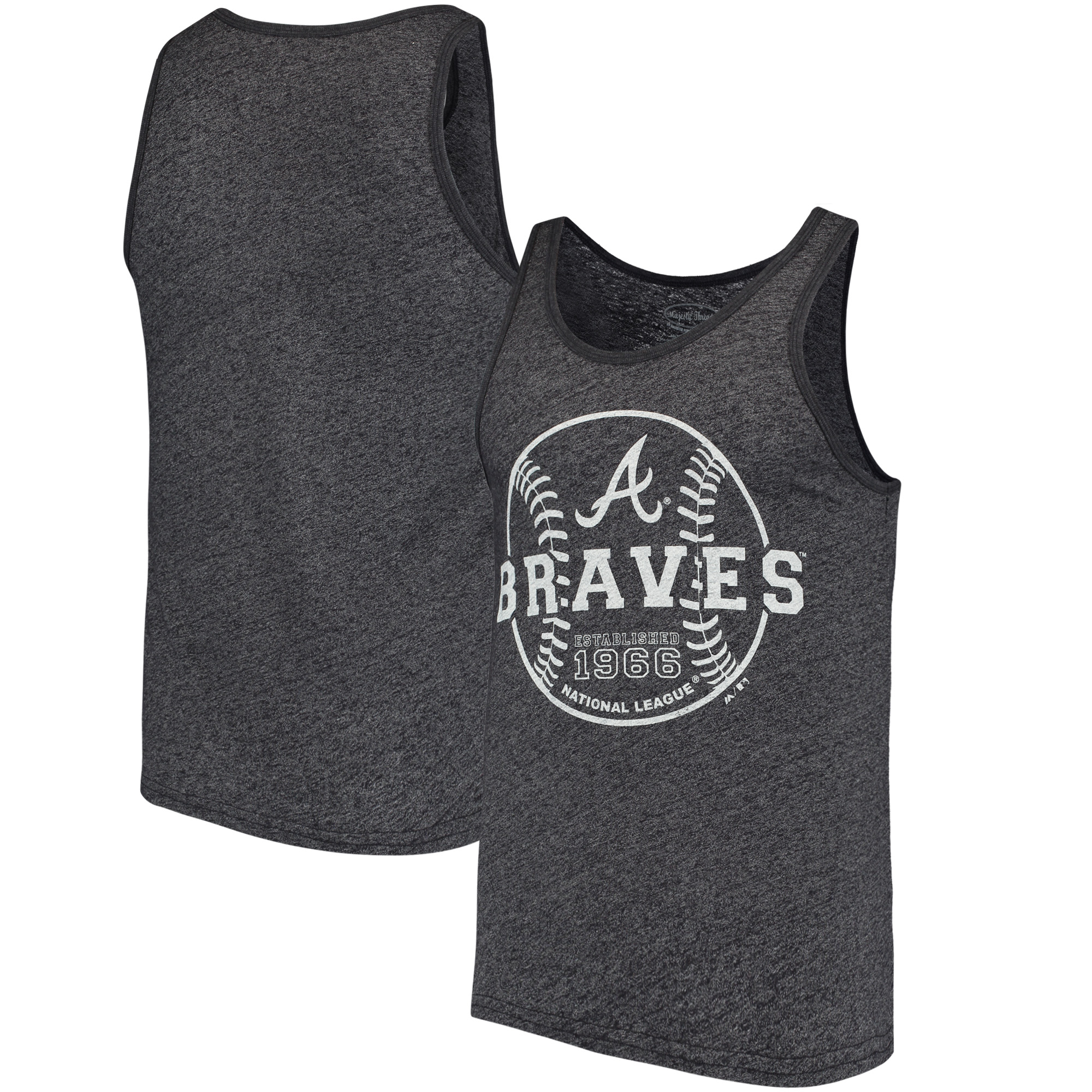 Atlanta Braves Majestic Threads The Stretch Contrast Tri-Blend Tank Top - Heathered Navy