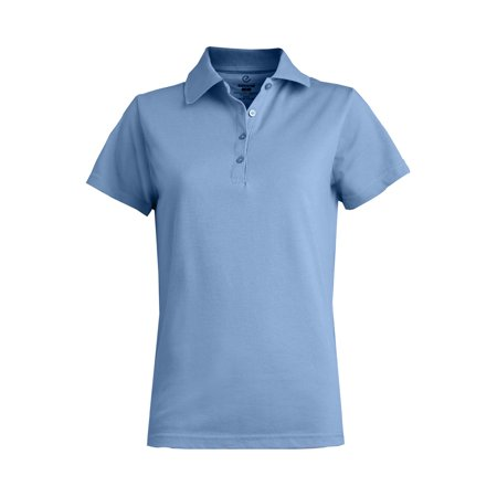 Ed Garments Women's Soft Touch Blended Pique Polo Shirt, BLUE, Large