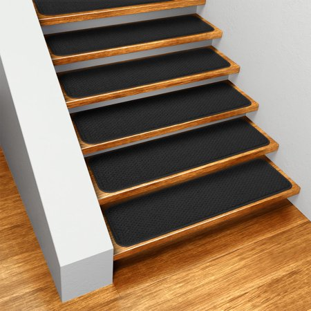 Set of 12 Skid-resistant Carpet Stair Treads - Black - 8 In. X 23.5 In. - Several Other Sizes to Choose (Seat Back Carpet)