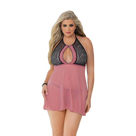 Womens Plus Size Flirty Halter Neck Keyhole Front Sheer Lace Babydoll Lingerie