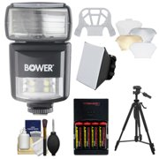 Bower SFD970 2-in-1 Power Zoom Flash & LED Video Light with Batteries & Charger + Diffusers + Tripod Kit for Nikon i-TTL D3200, D3300, D5200, D5300, D7000, D7100, D610, D800, D4s DSLR Cameras