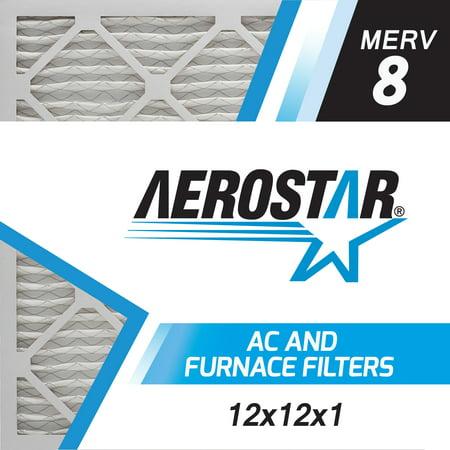Furnace Air Handler (12x12x1 AC and Furnace Air Filter by Aerostar, Model: 12X12X1 M08 - MERV 8, Box of 6 )