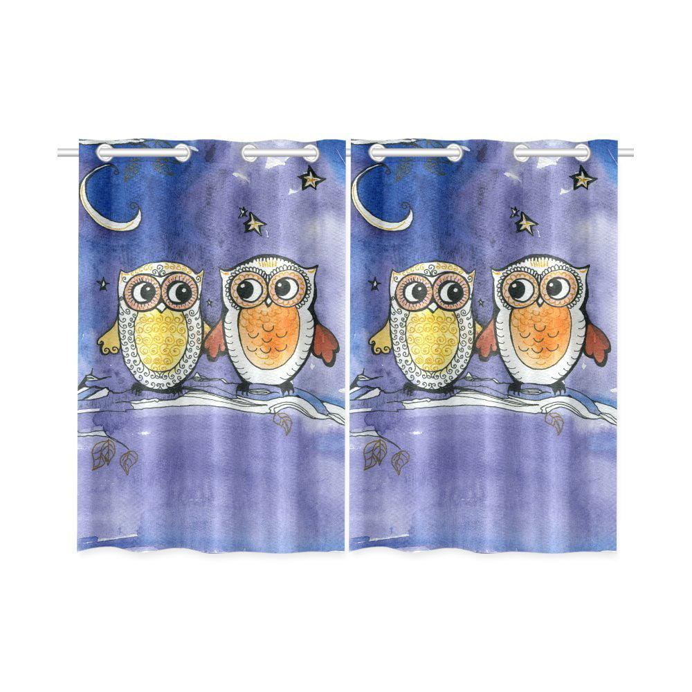Owl Kitchen Decor Walmart: MYPOP Owl Bird Tree Window Curtain Kitchen Curtain 26x39