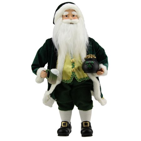 "18.5"" Luck of the Irish Santa Claus Holding a Beer Christmas Decoration - image 1 of 1"