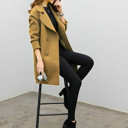 Womens Autumn Winter Jacket Casual Outwear Parka Cardigan Slim Coat Overcoat