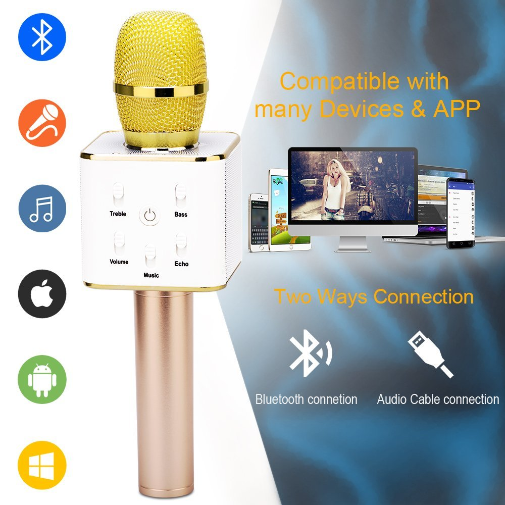 Jeobest Q9 Karaoke Microphone - Wireless Q9 Bluetooth Karaoke Microphone  Speaker - Q9 Portable Handheld Wireless Bluetooth KTV Mic Speaker Machine  for