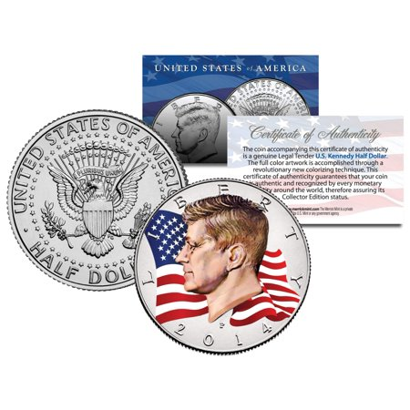 Smoking Coin Mint (Colorized * FLOWING FLAG * 2014 JFK John F Kennedy Half Dollar U.S. Coin P Mint )