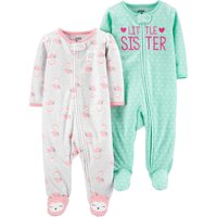 Child of Mine by Carter's Microfleece Sleep N Play Sleepers, 2pk (Baby Girls)