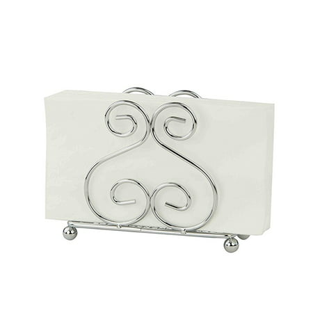 HDS Trading Corp Home Basics Scroll Collection Chrome Napkin Holder 4.5