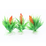 Plastic Fish Bowl Emulational Water Grass Plants Decoration Green Orange 3 Pcs