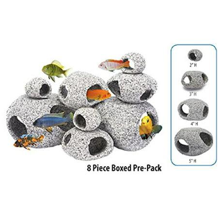 Penn Plax DECO-REPLICAS 8 Piece Granite-like Stone Hide-Aways Assortment ()