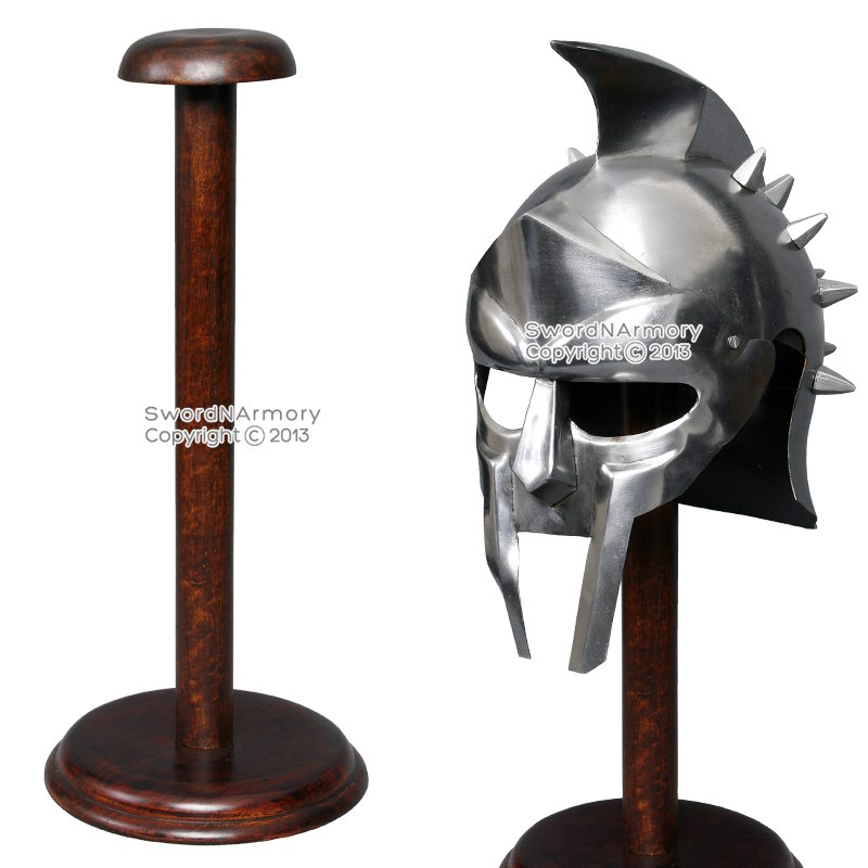 "17"" Solid Wooden Display Stand for Medieval Helmet Roman Viking Armor Round Base by Medieval Gears"