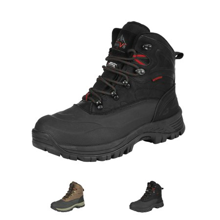 NORTIV 8 Men Winter Insulated Snow Boots Outdoor Waterproof Ankle Leather Hiking Work Shoes A0014 BLACK Size 7.5