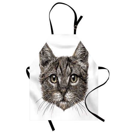 Animal Apron Cute Little Chubby Cat Head Looking Innocently with Long Whiskers Sketchy Like Artwork, Unisex Kitchen Bib Apron with Adjustable Neck for Cooking Baking Gardening, Grey, by Ambesonne - Cute Chubby Teen