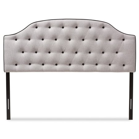 Baxton Studio Windsor Modern and Contemporary Greyish Beige Fabric Upholstered Scalloped Buttoned Queen Size Headboard - image 2 de 6