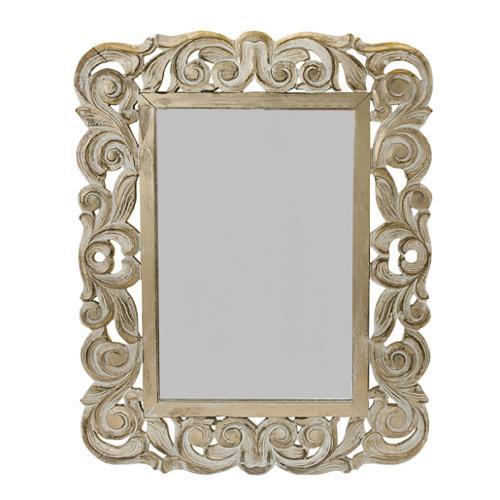 "19"" Antique-Style Beige Hand Carved Wood Rectangular Decorative Mirror"