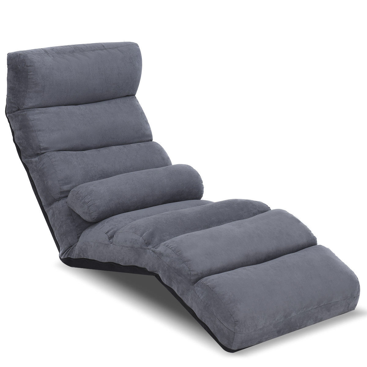 Costway Folding Lazy Sofa Floor Chair Couch Beds Lounge Chair Adjustable w Pillow Gray by Costway
