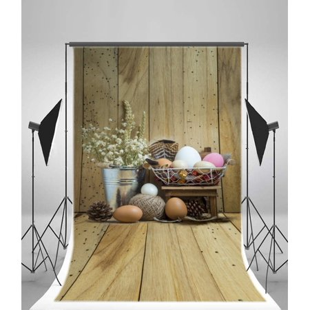 GreenDecor Polyster 5x7ft Happy Easter Eggs Backdrop Fresh Flowers Pine Cone Metal Bucket Rustic Stripes Wood Plank Vintage Wooden Floor Photography Background Kids Adults Photo Studio Props - Metal Easter Buckets