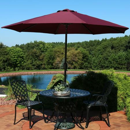 Sunnydaze 9 Foot Outdoor Patio Umbrella With Fade Resistant Canopy Auto Tilt Crank Rust Aluminum Burgundy