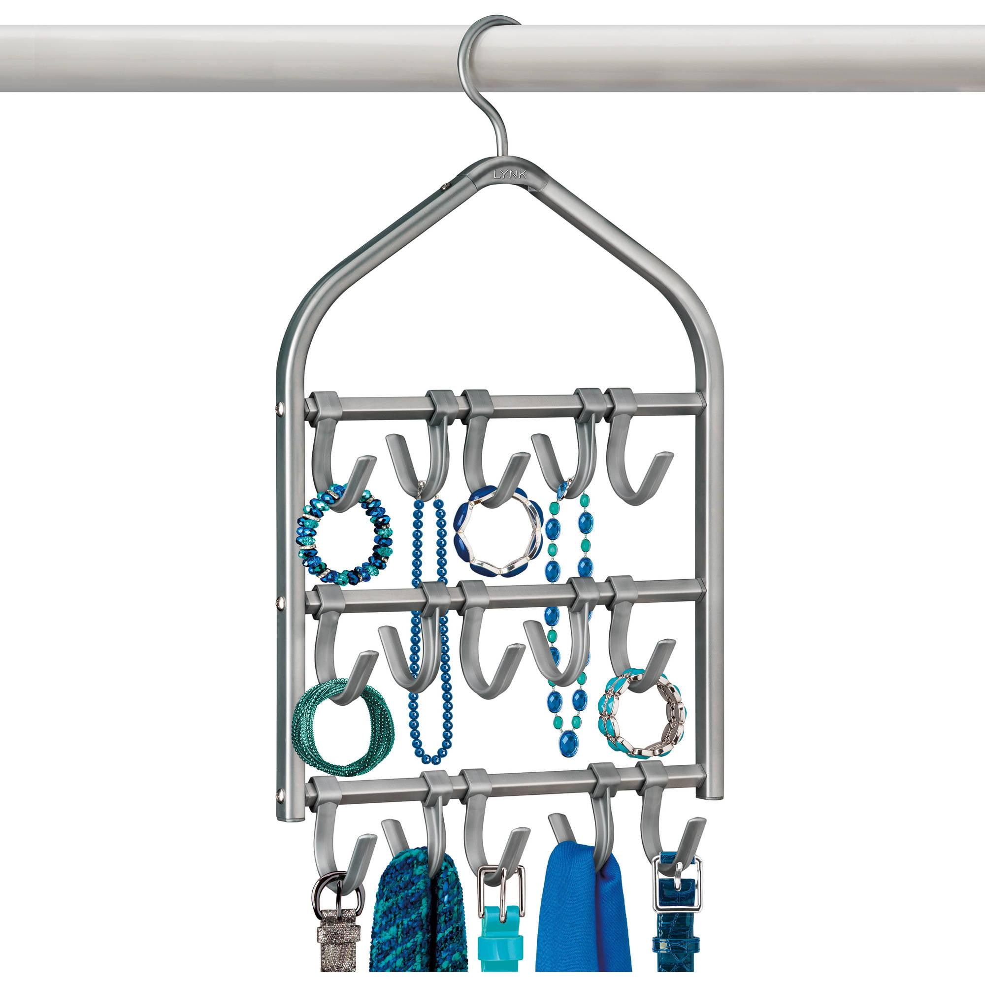 Lynk Double Sided Scarf Hanger - Belt, Hat, Jewelry, Accessory Holder - 15 Hook Closet Organizer Rack - Platinum