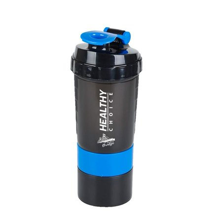 3 in 1 Protein Shaker Sport Fitness Gym Drinking Water Bottle, 500ml, 16oz, 316 Stainless Steel Mixing with Plastic Holder. 3 Compartment Pill Box with 200gr Protein Powder Container.