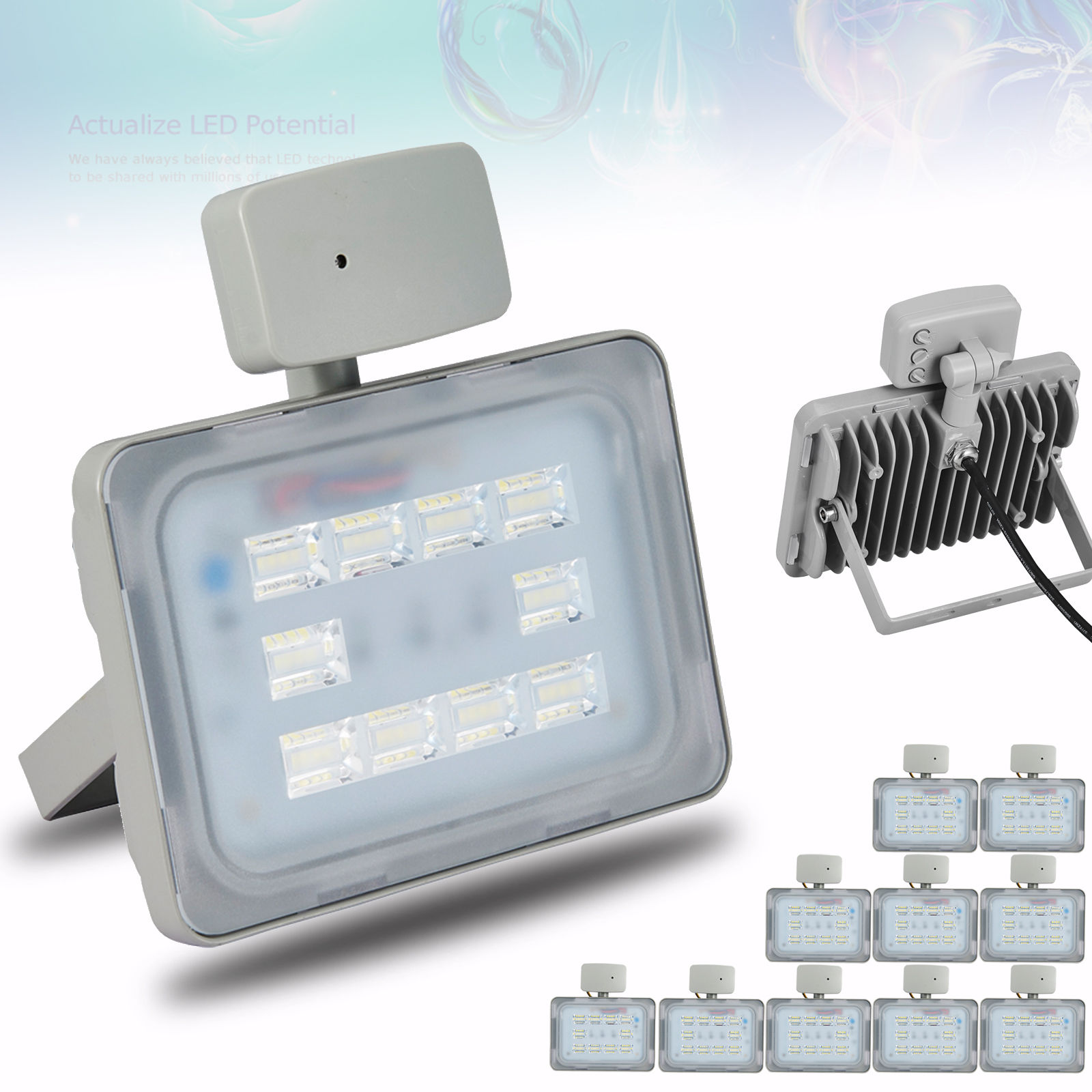 20X Viugreum 30W LED Floodlight Outdoor Garden Lamp Cool White, Microwave Sensor