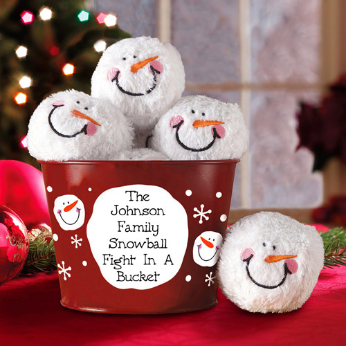 Personalized Snowball Fight In A Bucket