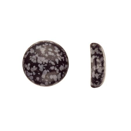 Round Dome Semi-Precious Cabochon Stones Snowflake Obsidian 20mm