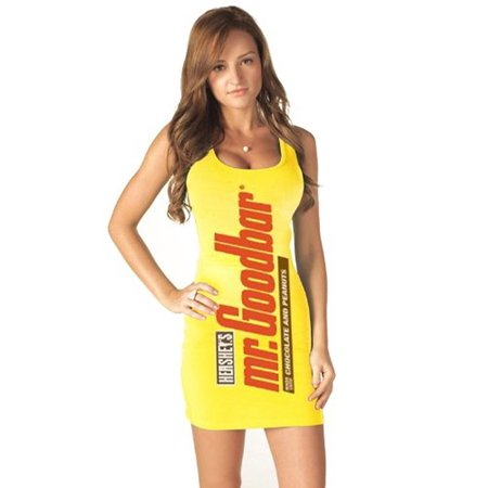 Mr. Goodbar Candy Bar Juniors Yellow Tunic Tank Dress