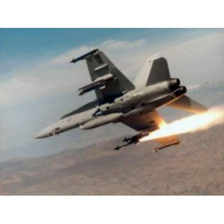 (LAMINATED POSTER A U.S. Navy McDonnell Douglas F/A-18A Hornet firing an AIM-9R Sidewinder missile at China Lake, Cali Poster Print 24 x 36)