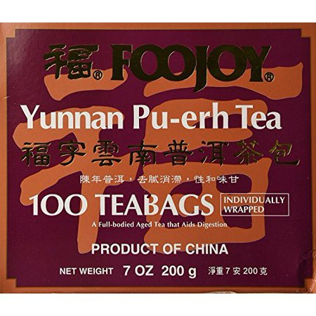 Foojoy Yunnan Pu-erh Tea 100 Individually Wrapped Teabags + One NineChef Spoon Per Order - Old Tree Pu Erh Tea