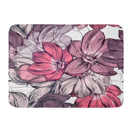 GODPOK Colorful Pretty Pink Victorian Beautiful Pattern with Magnolia Flowers Plants Ideal Prints Red Floral Rug Doormat Bath Mat 23.6x15.7 -