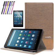 Mignova All-New Fire HD 8 2017 Tablet Case - Premium PU Leather Folio Stand Cover Case for All-New Fire HD 8 (7th Generation, 2017 release) + Screen Protector Film and Stylus Pen (Brown)