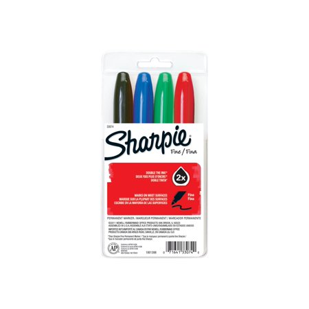 Sharpie Super - Marker - permanent - black, red, blue, green - fine - pack of 4
