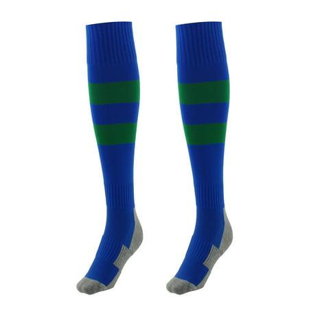 Sports Stretch Baseball Soccer Football Long Socks Stockings Blue Green Pair (Lingerie Soccer)