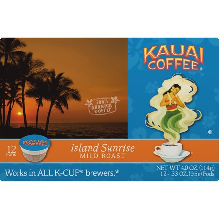 Kauai Coffee Island Sunrise Hawaiian K-Cup Coffee Pods, Mild Roast, 12 Count