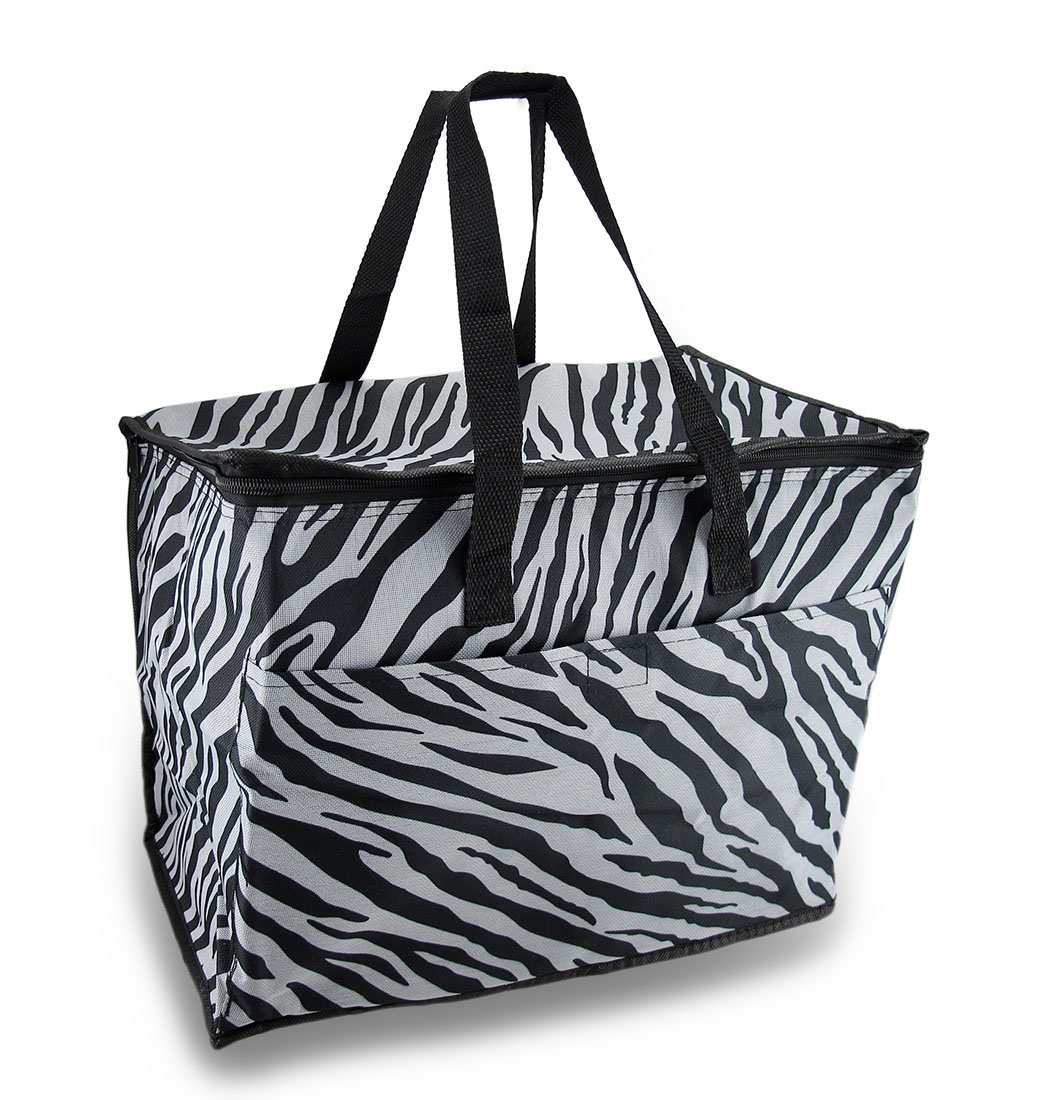Zebra Striped Large Collapsible Insulated Cooler Bag w/ Pocket