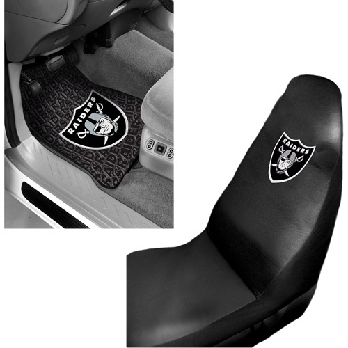 NFL Oakland Raiders 2 pc Front Floor Mats and Car Seat Cover Value Bundle