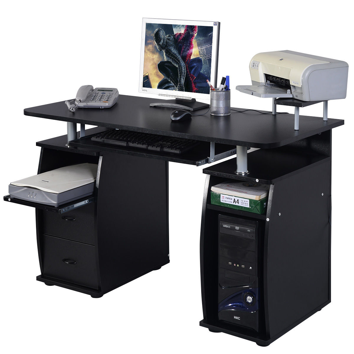 Costway Computer PC Desk Work Station Office Home Monitor&Printer Shelf Furniture Black