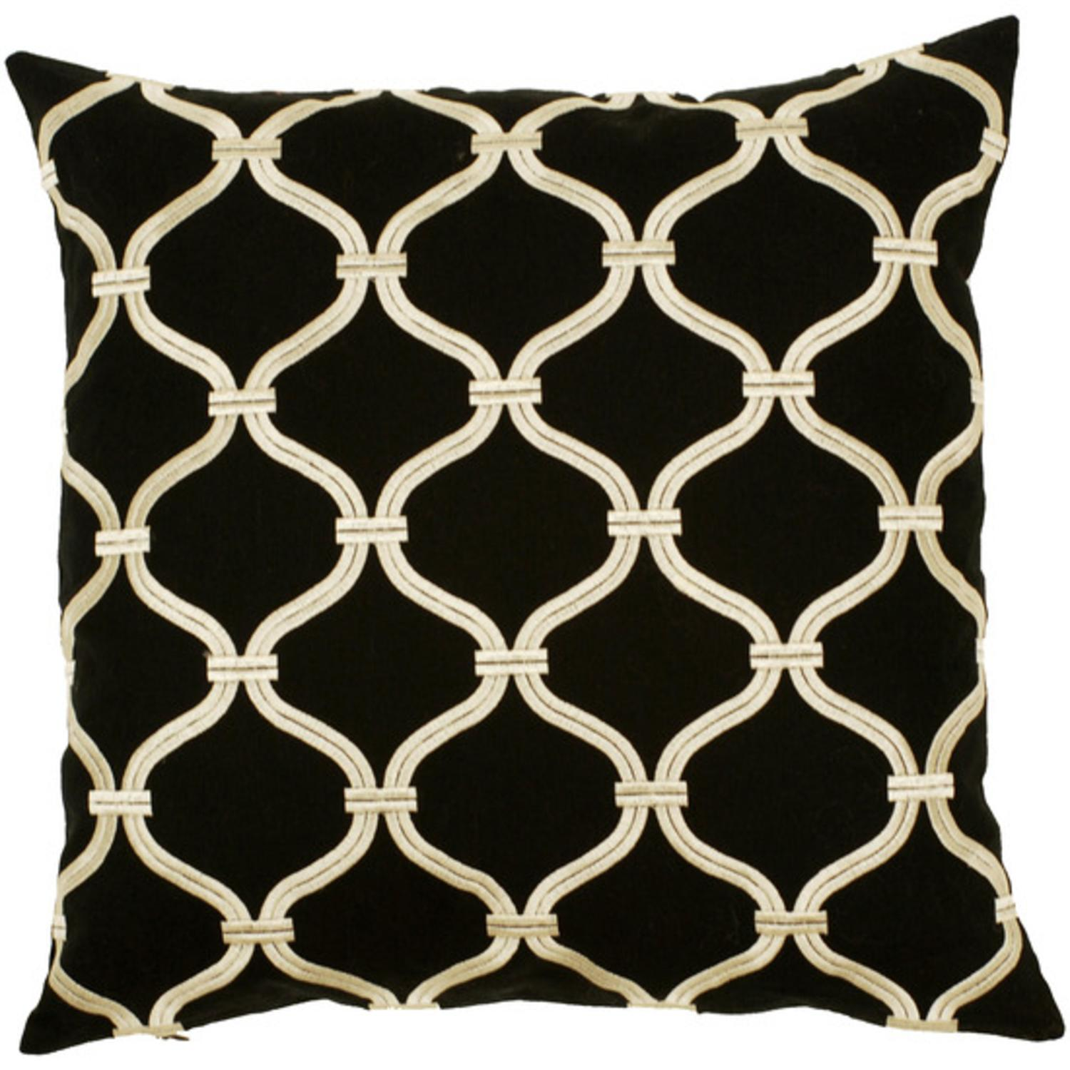 """18"""" Vintage Black and Ivory Oval Chain Link Decorative Throw Pillow"""