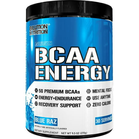 Evlution Nutrition BCAA Energy Powder, Blue Raz, 30