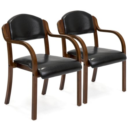 Best Choice Products Faux Leather Upholstered Arm Chairs with Wooden Arms, Set of 2, Black ()