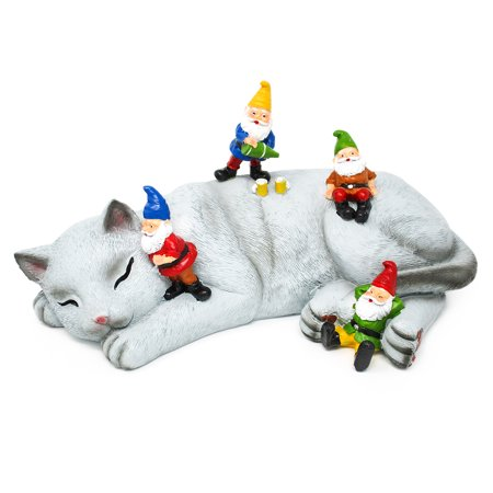 Funny Outdoor Lawn Garden Cat Gnome Statue Gift by Hilarious Home