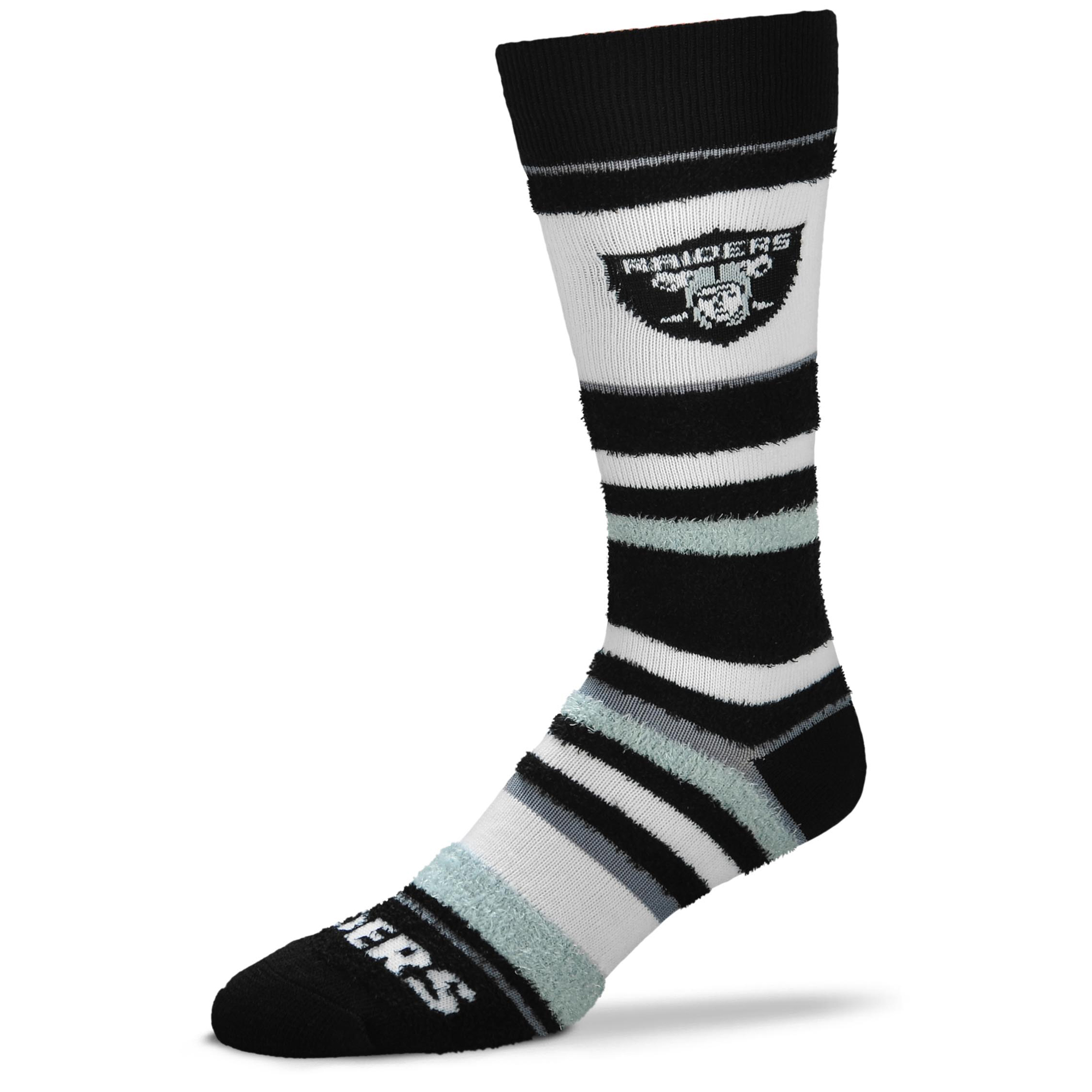 Oakland Raiders For Bare Feet Women's Soft Stripe Quarter-Length Socks - No Size