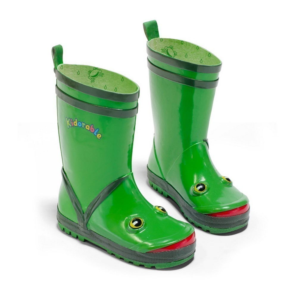Kidorable Little Boys Green Frog Eyes Design Rubber Rain Boots 5 Toddler