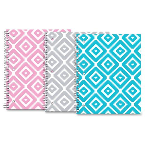 "Roaring Spring Modern Jen Design 1-subj Notebook - 80 Sheets - Printed - Spiral Bound - College Ruled 8.50"" X 10.50"" - White Paper - Blue, Yellow Cover Chevron - Board Cover - 1each (roa-10261)"