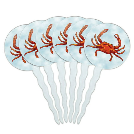 Crab Ocean Sea Creature Beach Cupcake Picks Toppers - Set of 6 ()